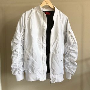 Zara Jackets & Coats - SOLD ON MERC White ruched bomber